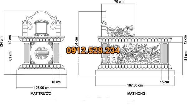 Kích thước chuẩn phong thủy của mộ bành đá