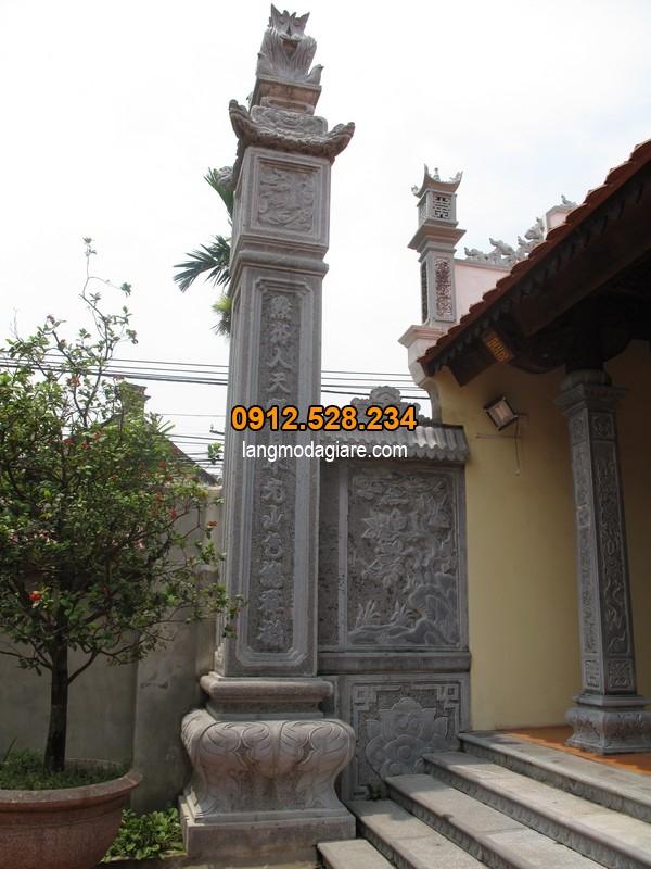 Cột đá vuông đẹp dành cho cổng đình, chùa