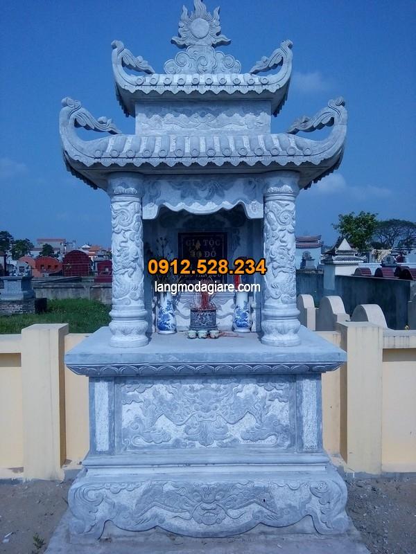Mộ đá xanh đẹp chạm khắc hoa văn tinh xảo tại Ninh Vân