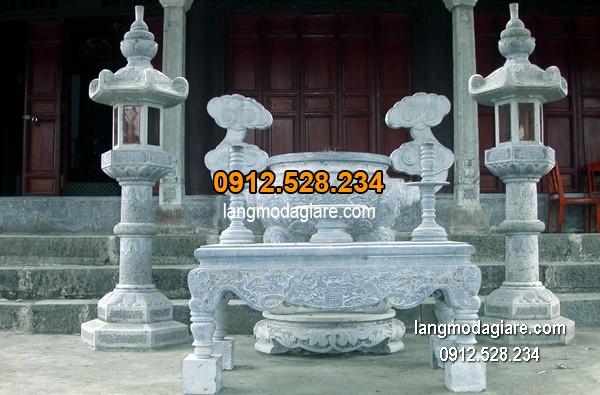 Lư hương đá xanh đẹp chất lượng cao giá rẻ thiết kế đơn giản