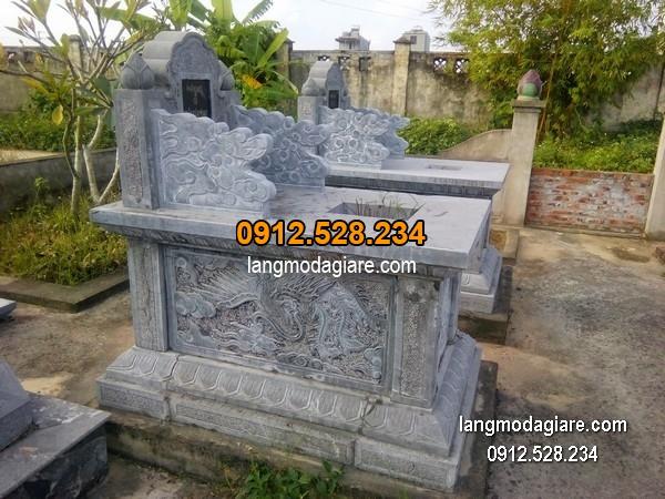 Mộ đá bành xanh chạm khắc tinh tế chất lượng cao giá hợp lý