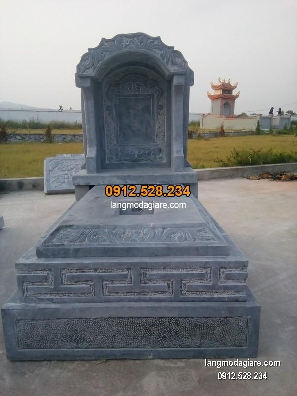 Mẫu mộ đá bành xanh giá rẻ thiết kế đơn giản