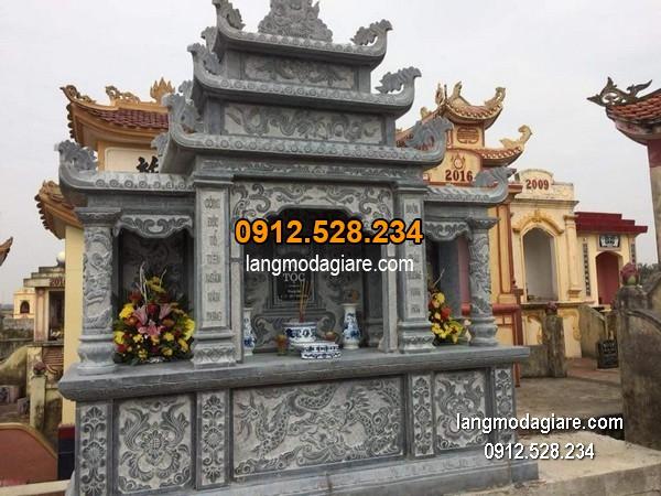 Mẫu mộ 3 mái đá xanh khối giá rẻ thiết kế cao cấp