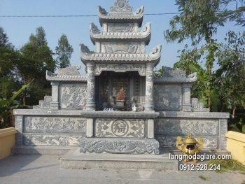 Mẫu mộ 3 mái đá xanh khối đẹp chất lượng cao giá hợp lý thiết kế đơn giản