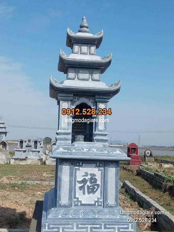 Mẫu mộ 3 mái đá xanh khối đẹp chất lượng cao giá rẻ thiết kế cao cấp