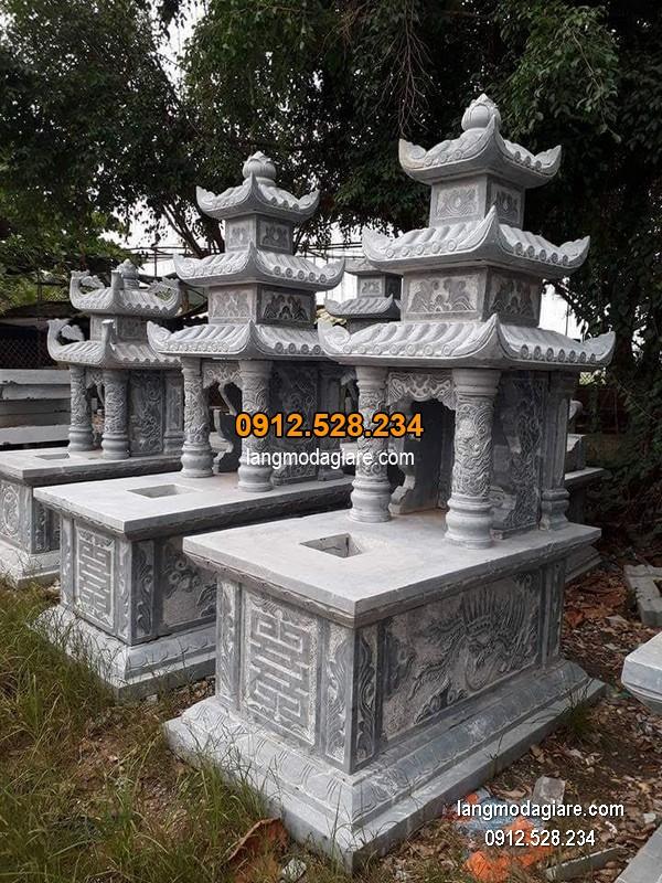 Mẫu mộ 3 mái đá xanh khối đẹp chất lượng cao giá rẻ thiết kế đơn giản