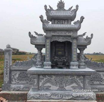 Mẫu mộ 3 mái đá xanh khối đẹp chất lượng cao giá hợp lý thiết kế cao cấp