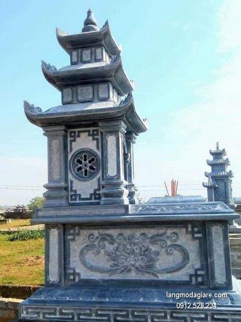Mẫu mộ 3 mái đá xanh khối giá rẻ thiết kế đơn giản