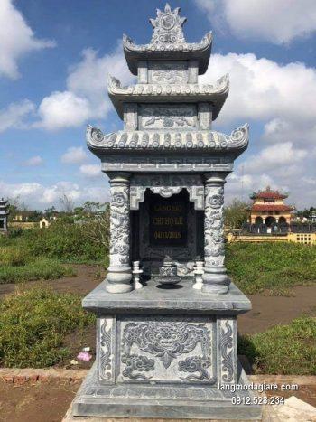 Mẫu mộ 3 mái đá xanh khối đẹp chất lượng cao giá tốt thiết kế hiện đại