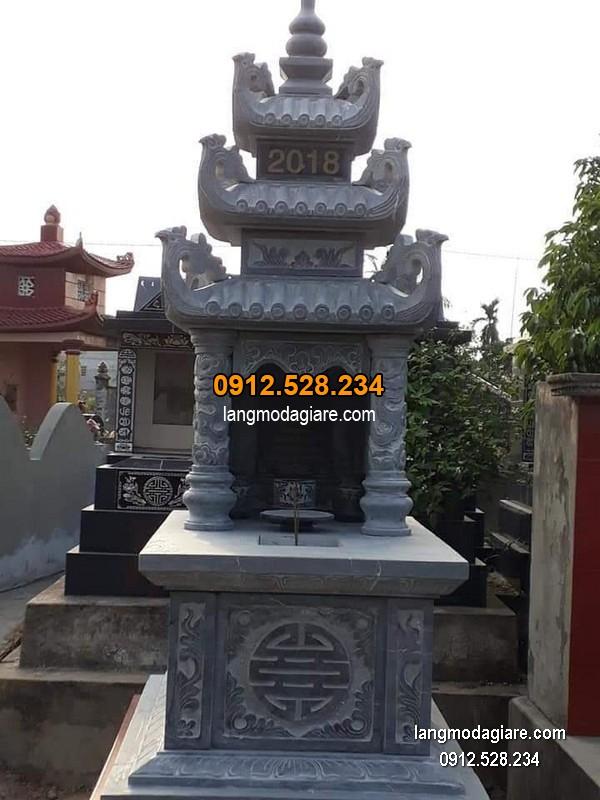 Mẫu mộ 3 mái đá xanh khối chất lượng cao giá hợp lý thiết kế đơn giản