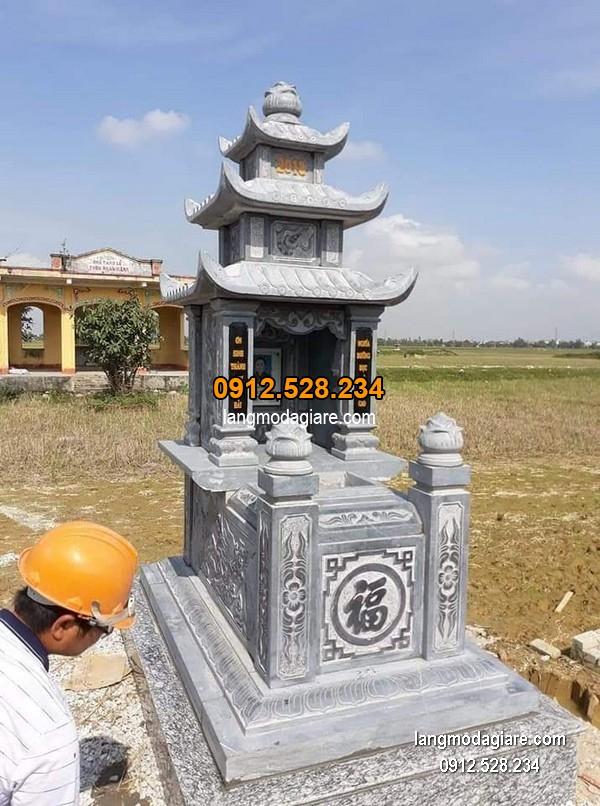 Mẫu mộ đá xanh khối đẹp chất lượng cao giá tốt thiết kế cao cấp
