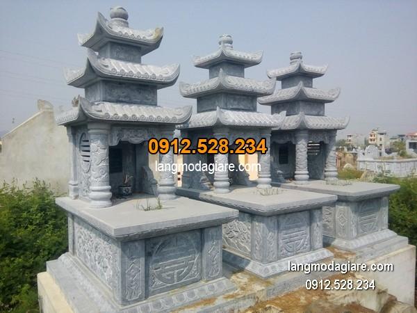 Mẫu mộ 3 mái đá xanh khối đẹp chất lượng cao giá tốt thiết kế đơn giản