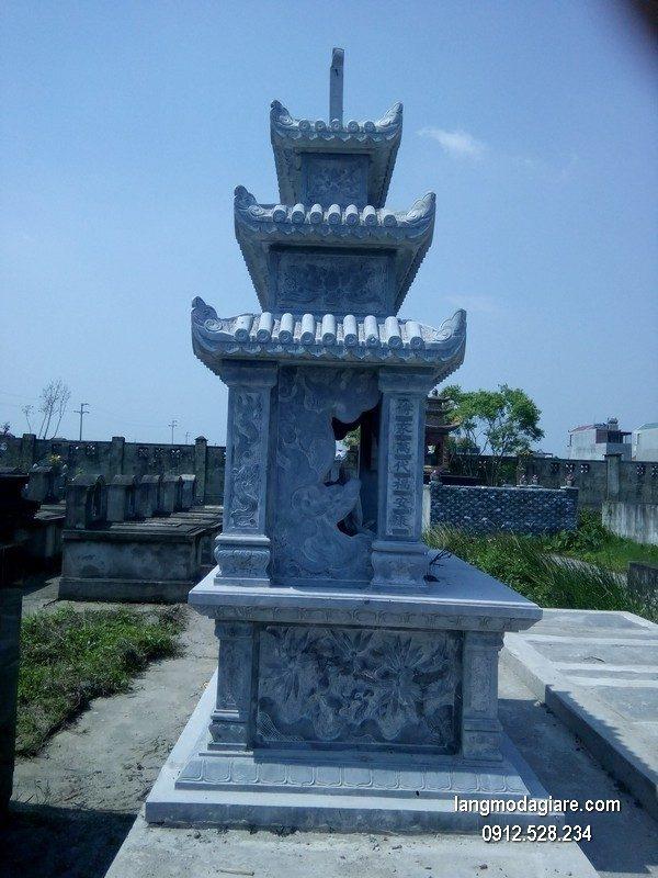 Mẫu mộ 3 mái đá xanh khối chất lượng cao giá rẻ thiết kế đơn giản