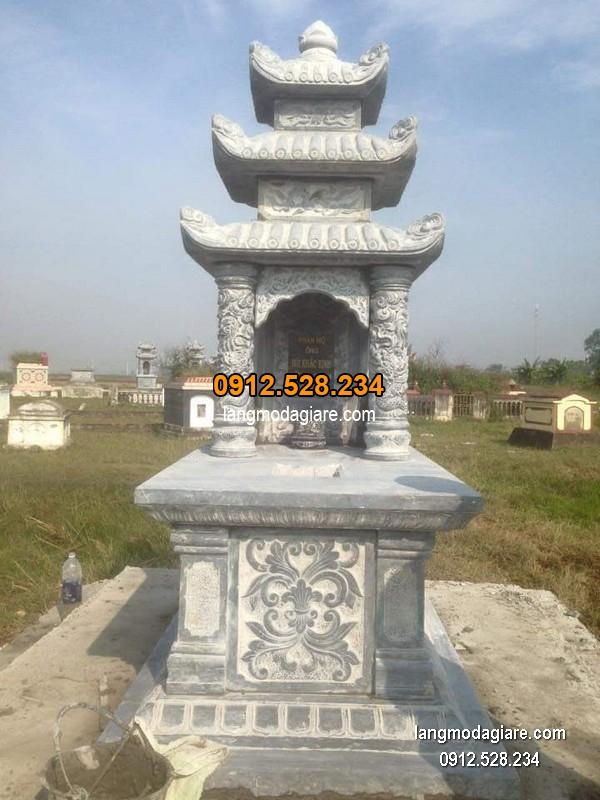 Mẫu mộ 3 mái đá xanh khối chất lượng cao giá tốt thiết kế đơn giản