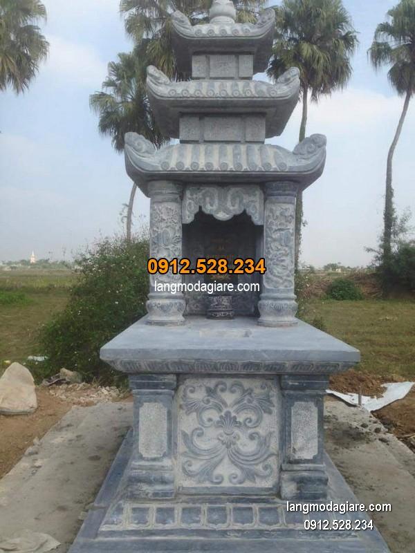 Mẫu mộ 3 mái đá xanh khối chất lượng cao giá hợp lý thiết kế hiện đại