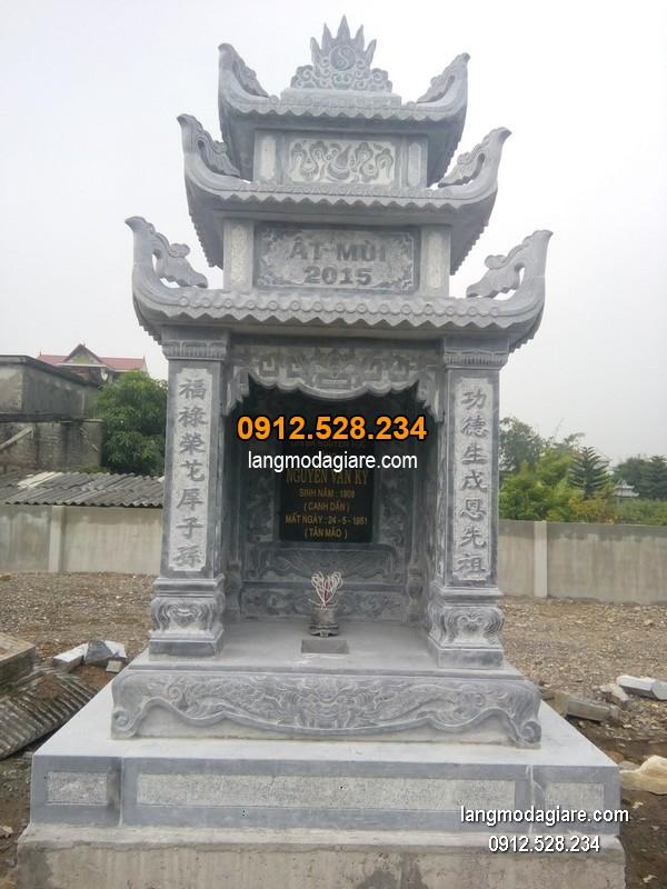 Mẫu mộ 3 mái đá xanh khối chất lượng cao giá hợp lý thiết kế cao cấp
