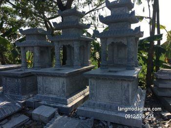 Mẫu mộ 3 mái đá xanh khối chất lượng cao giá tốt thiết kế hiện đại
