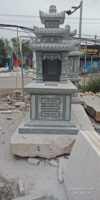 Mẫu mộ 3 mái đá xanh khối chất lượng cao giá tốt thiết kế cao cấp