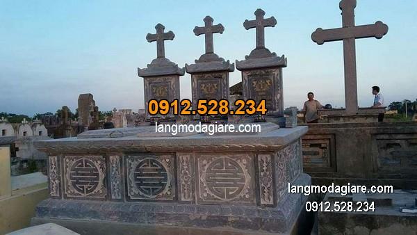 Mộ đá công giáo xanh hoa văn đẹp chất lượng cao giá rẻ
