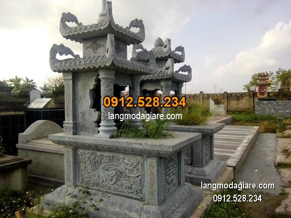 Mẫu mộ 2 mái đá xanh đẹp nhất chất lượng tốt giá hợp lý thiết kế đơn giản