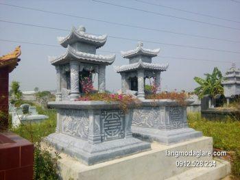Mẫu mộ 2 mái đá xanh khối đẹp chất lượng cao giá rẻ thiết kế đơn giản