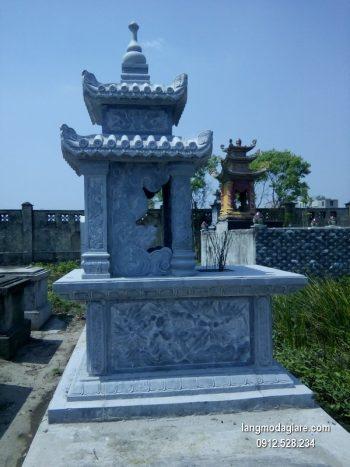 Mẫu mộ 2 mái đá xanh khối đẹp chất lượng cao giá tốt thiết kế cao cấp