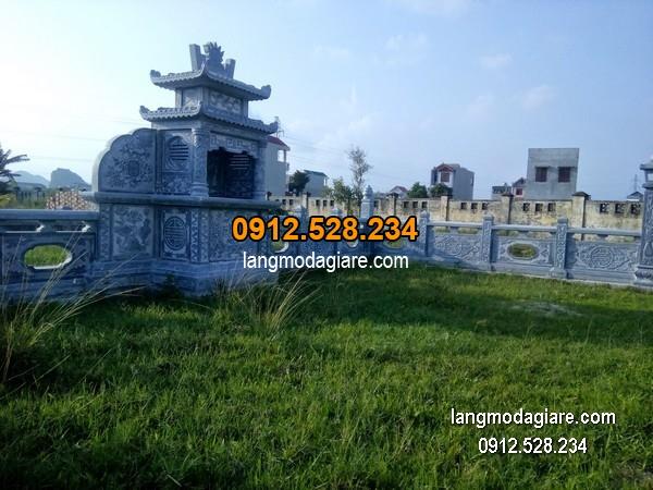 Mẫu mộ 2 mái đá xanh khối đẹp chất lượng cao giá tốt thiết kế đơn giản