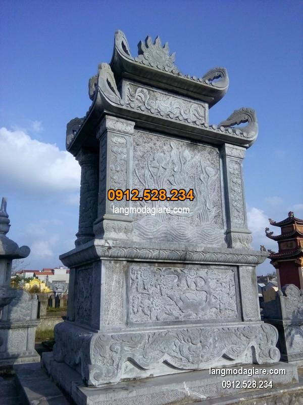 Mẫu mộ 2 mái đá xanh khối đẹp chất lượng cao giá hợp lý thiết kế hiện đại