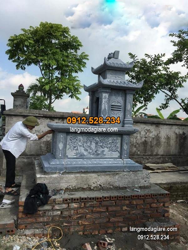 Mẫu mộ 2 mái đá xanh khối đẹp chất lượng cao giá hợp lý thiết kế cao cấp