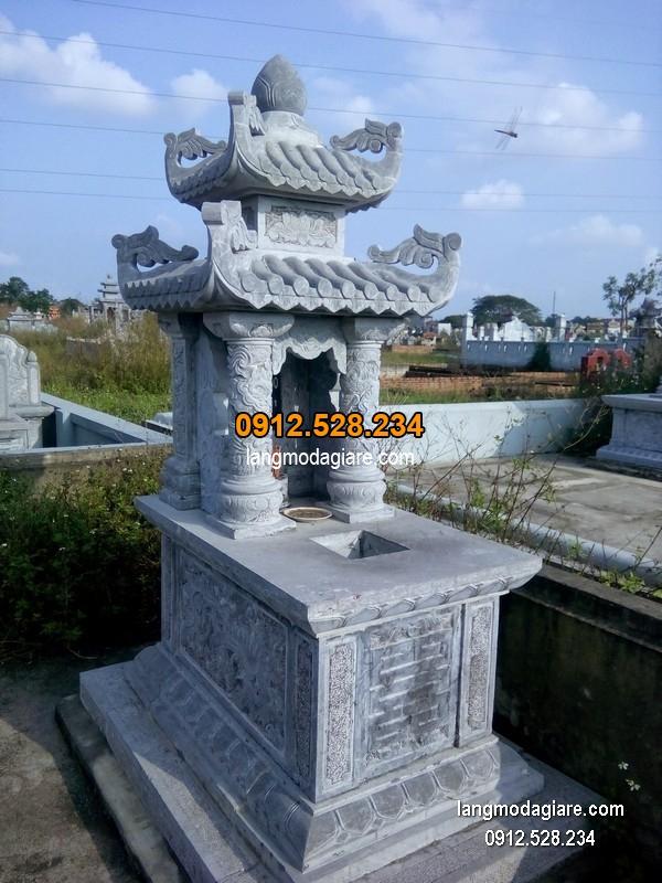 Mẫu mộ 2 mái đá xanh khối đẹp chất lượng tốt giá hợp lý thiết kế đơn giản