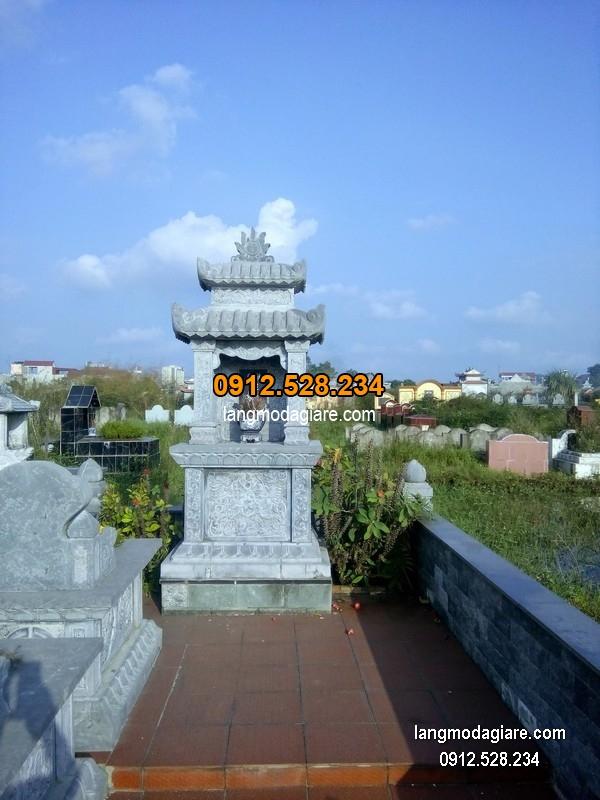 Mẫu mộ 2 mái đá xanh khối chất lượng cao giá rẻ thiết kế hiện đại