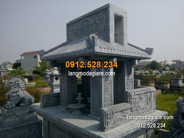 Mẫu mộ đá 1 mái xanh giá hợp lý thiết kế đơn giản