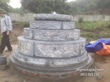 Mộ đá tròn xanh hoa văn đẹp chất lượng tốt giá rẻ