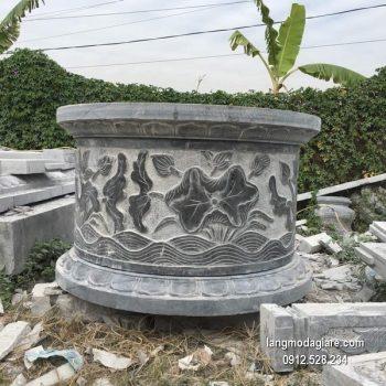 Mộ đá tròn xanh hoa văn đẹp chất lượng tốt giá tốt