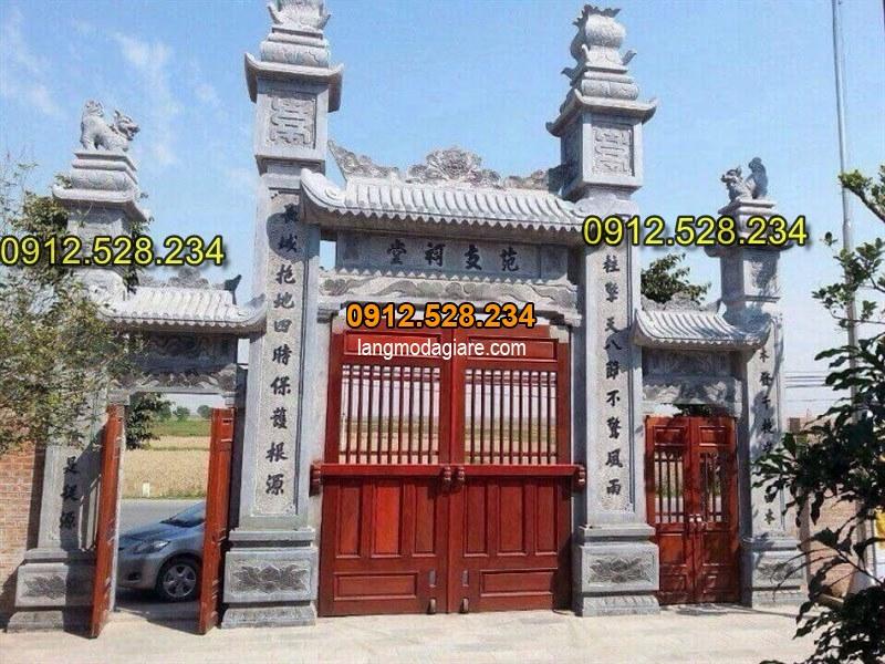Hình ảnh cổng nhà thờ họ được làm bằng đá xanh