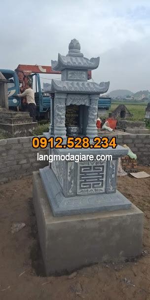 Làm mẫu mộ đá hai mái hợp phong thủy