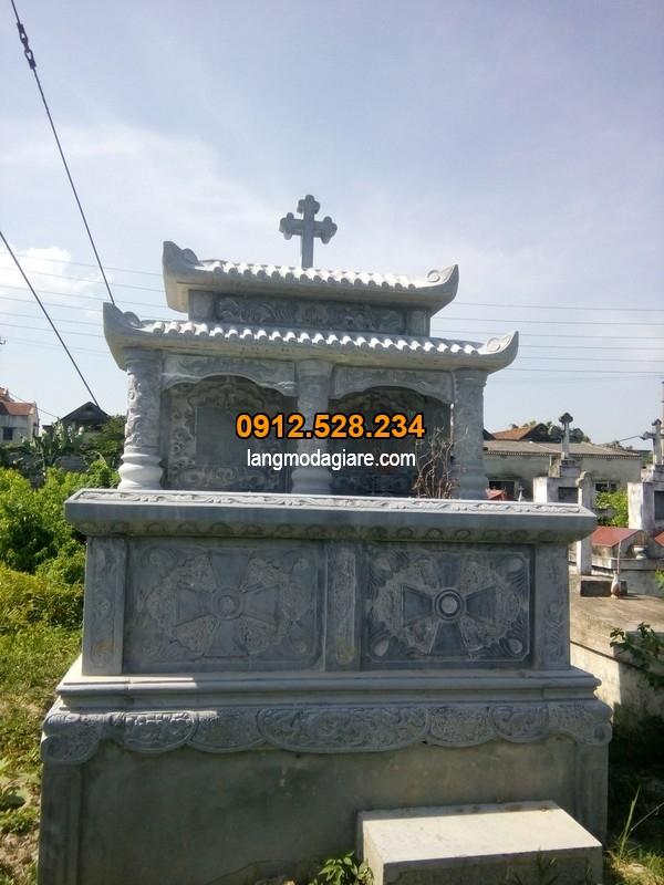 Thiết kế mộ đá công giáo hai mái che