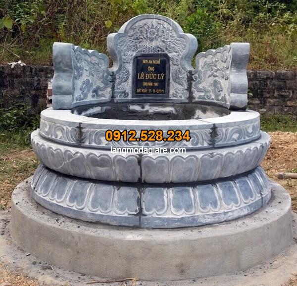 Mộ đá tròn đẹp chạm khắc công phu