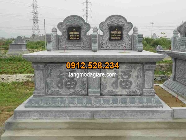 Mẫu mộ đá đôi được thiết kế chuẩn theo phong thủy