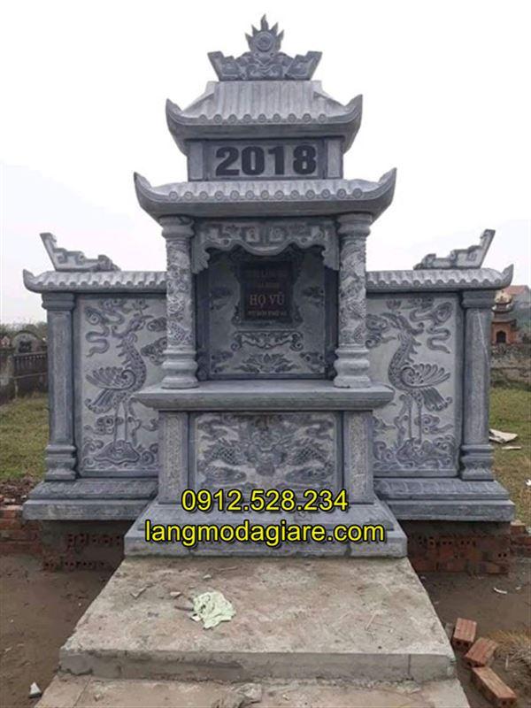 Mẫu lăng thờ chung bằng đá xanh tự nhiên nguyên khối