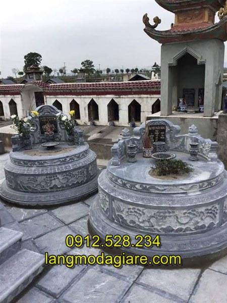 Mẫu mộ tròn được làm bằng đá xanh nguyên khối, Tư vấn làm mộ đá tròn kích thước hợp phong thủy