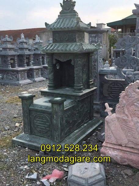 Mộ đá xanh rêu hai mái đẹp chất lượng cao, Mẫu mộ đá hai đao đẹp kích thước chuẩn phong thủy