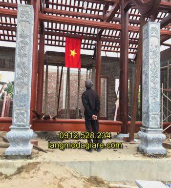 Cột hiên nhà bằng đá xanh nguyên khối 02