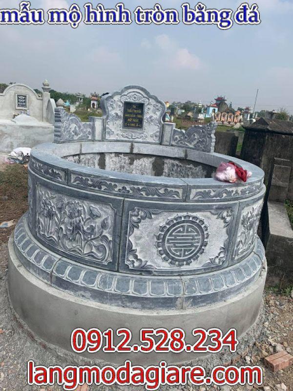 Mẫu mộ hình tròn bằng đá xanh đẹp