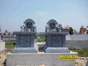 Hình ảnh mộ đẹp bằng đá xanh tự nhiên chạm khắc hoa văn tinh xảo