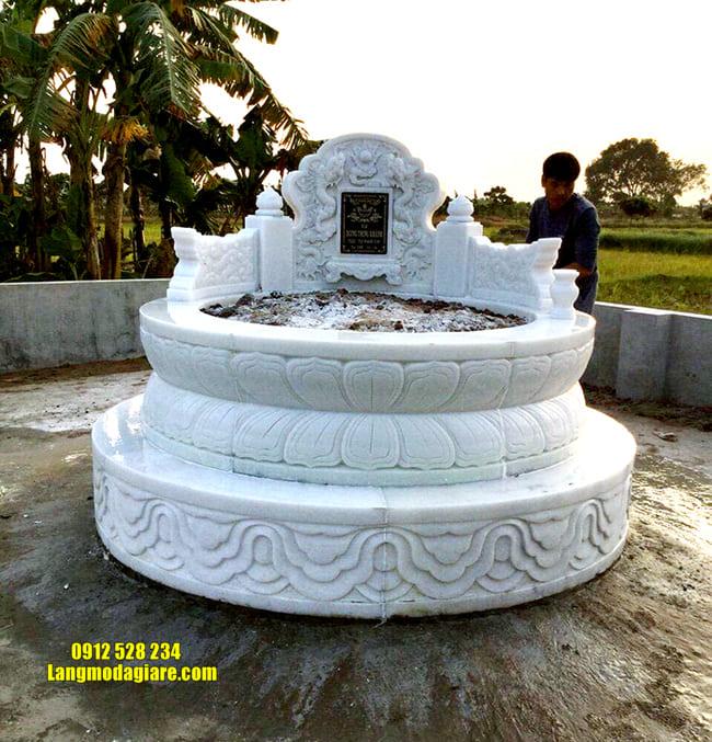 mẫu mộ tròn bằng đá trắng đẹp