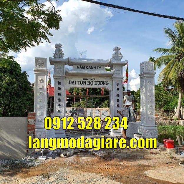 mẫu cổng nhà thờ tộc bằng đá trắng