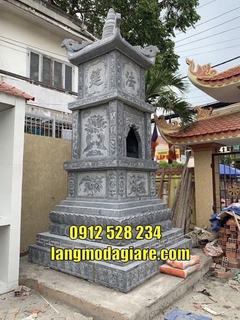 Làm tháp mộ phật giáo cất tro cốt bằng đá tại Trà VinhTôn sư tháp