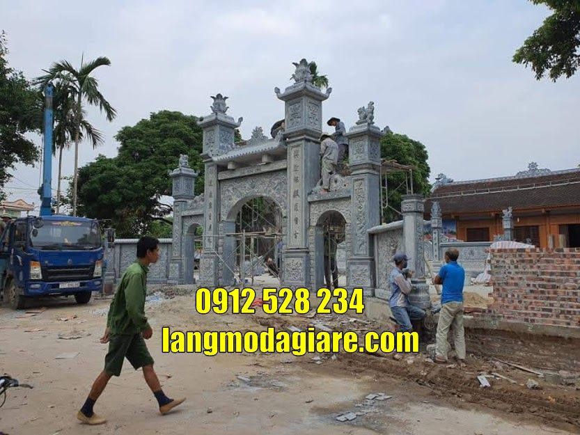 28 mẫu cổng nhà thờ họ bằng đá đẹp bán tại quảng bình Cổng đình làng
