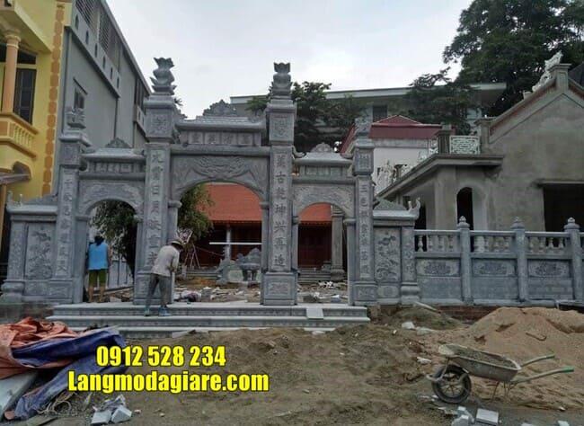 cổng nhà thờ họ bằng đá tại Hưng Yên đẹp